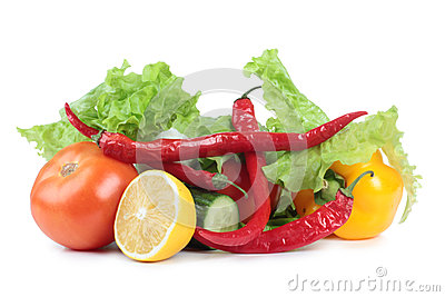 Vegetables set on white