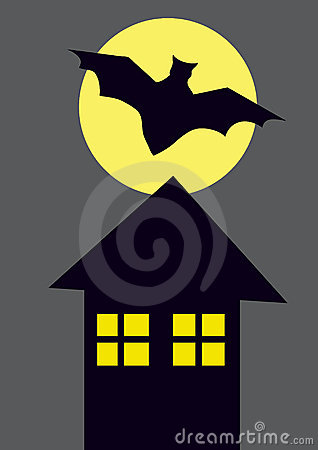 Color picture of black bat, house and full moon