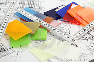 Color plastics & architectural blueprints