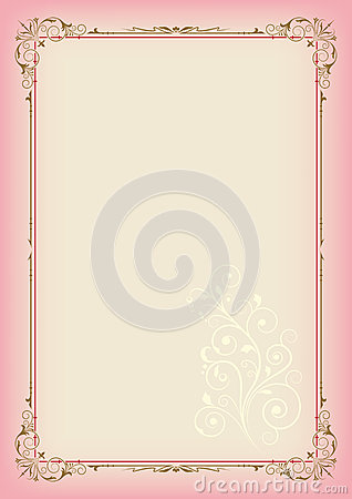 Free Color Rectangular Ornate Frame And Floral Element On Light Background, Page Decoration Stock Photos - 94470603