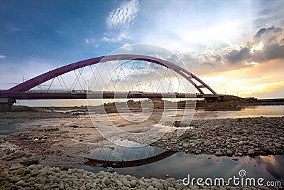Color Red Bridge Sunset, Chuk Yuen, Taoyuan County