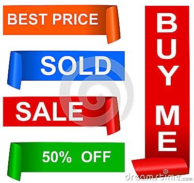 Color sale sticker set, vector