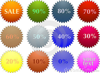 Color sale tag stickers with discount