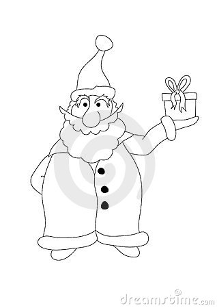 Color it. Santa Claus holds a  gift