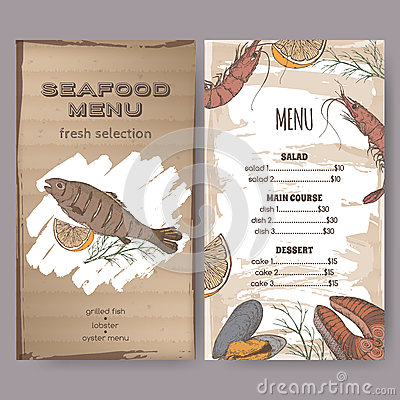 Color seafood restaurant menu template with sketch of grilled fish Vector Illustration