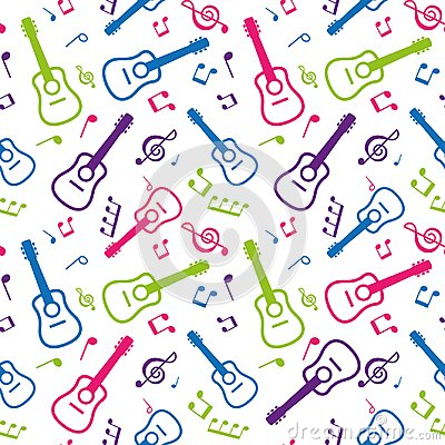 Free Color Seamless Pattern Musical Notes And Guitars Stock Photography - 115053312
