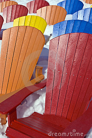 Free Color Seat Chairs In The Snow Royalty Free Stock Photo - 13413115