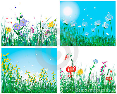 Color set of grass backgrounds