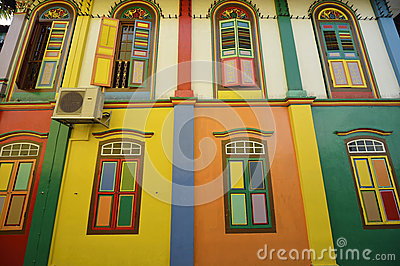 Color Shutters And Color Facade Of Building In Little India, Sin Royalty Free Stock Image - Image: 28366866