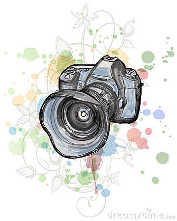 Color sketch of a digital photo camera