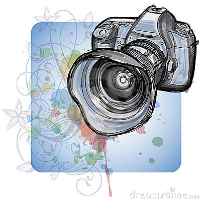 Color sketch of a modern digital photo camera