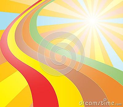 Color sun and rainbow