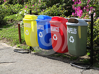 Color trash cans for garbage separation