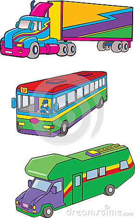 Color truck, camping car, bus
