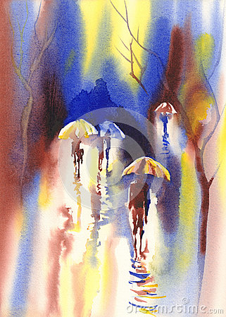 Color umbrellas in the rain watercolor Stock Photo