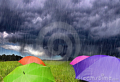 Color Umbrellas in Rainy Storm Clouds