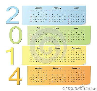 Color vector calendar 2014