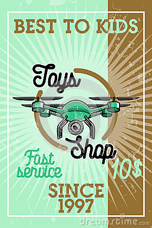 Color vintage toys shop banner Vector Illustration