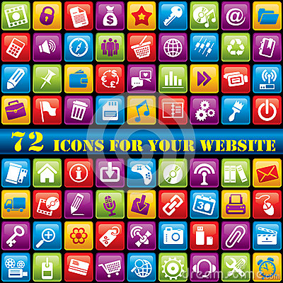 Free Color Web Icons Royalty Free Stock Photography - 24845987