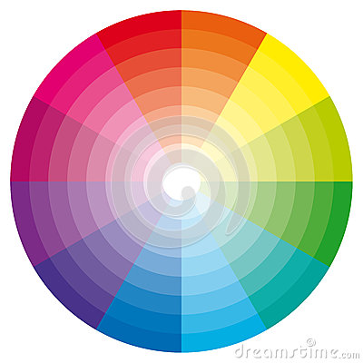 Color wheel with shade of colors.