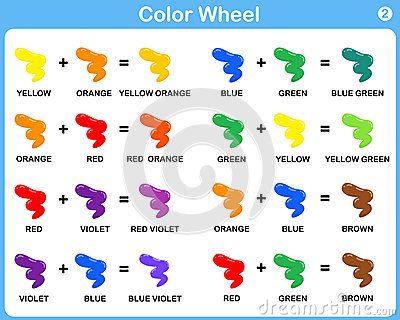 Color Wheel Worksheet - Red Blue Yellow color : for kids.