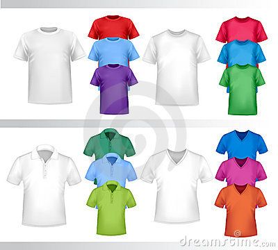 Color and white t-shirt design template.