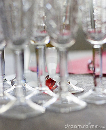 Color among wine glasses