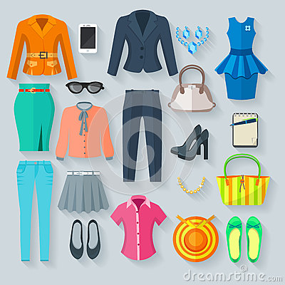 Free Color Woman Clothes Flat Icons Set Royalty Free Stock Photography - 63833437