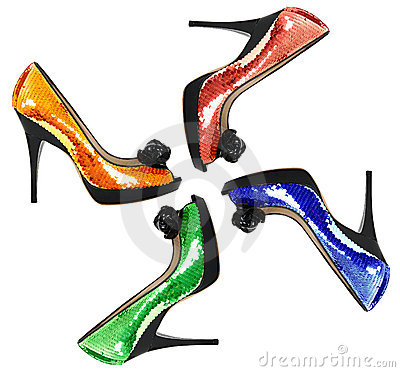 Color woman shoes with sequin