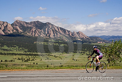 Colorado Bicyclist Editorial Stock Photo