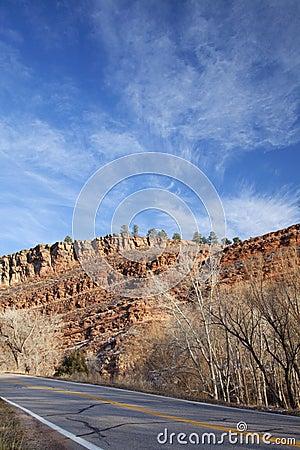 Colorado highway with redstone rocks
