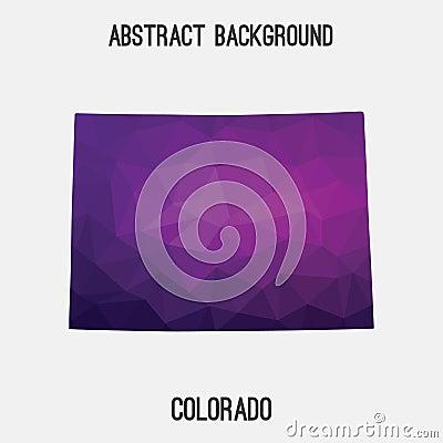 Colorado map in geometric polygonal,mosaic style. Cartoon Illustration