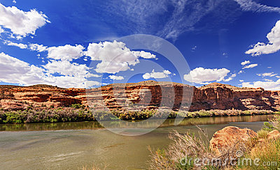 Colorado River Rock Canyon Reflection Moab Utah