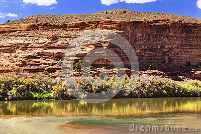 Colorado River Rock Canyon Reflection Near Arches Moab Utah