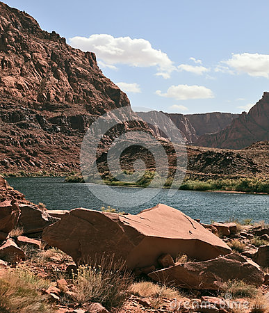 The Colorado River in the steep banks