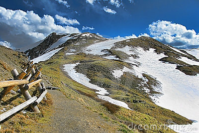 Colorado Rocky Mountain Path and Snow Covered Peak