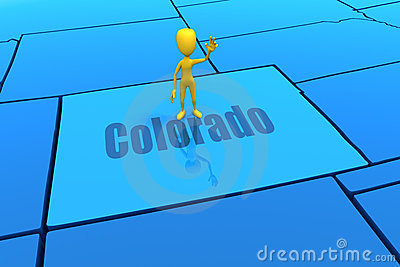 Colorado state outline with yellow stick figure