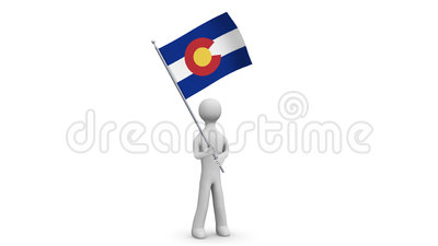 Colorado waving flag. 3d Man holding and waving Colorado flag on transparent background. Loop. Alpha channel. Stock Photo