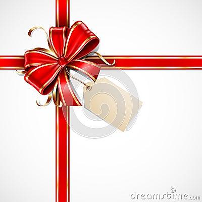 Colore rosso ed arco del regalo dell oro