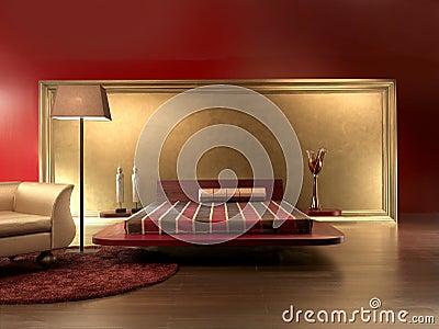 Colore rosso lussuoso di cuoio della camera da letto - Colore camera letto ...