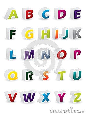 Colored 3d alphabet