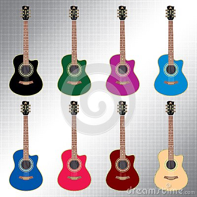 Colored acoustic guitars