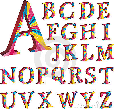 Colored alphabet with stripes
