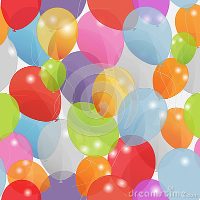Colored balloons seamless pattern, vector