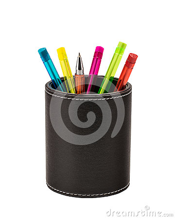 Free Colored Ballpoint Pens In A Leather Holder Stock Photo - 97999100