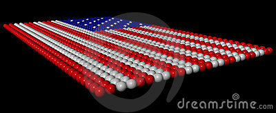 Colored balls in the image of the american flag