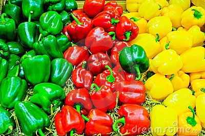 Colored bell pepper paprika