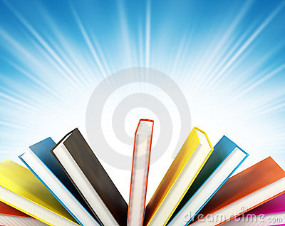 Colored books on background