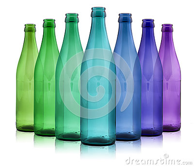 Colored bottles on a white background