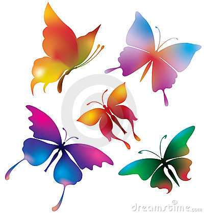 Colored Butterflies Royalty Free Stock Image - Image: 15385486